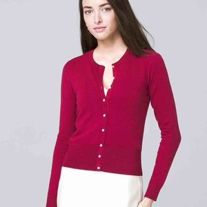 WHBM romantic red button-front cardigan NWOT